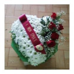 Gerbe Cœur  - fleurs deuil