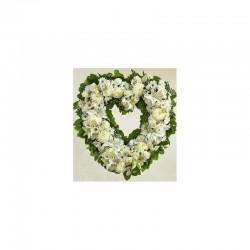 Cœur blanc moyen - fleurs...