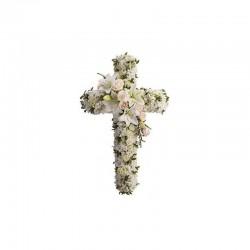 Gerbe en Croix - fleurs deuil