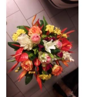 Bouquet rond roses fleurs...